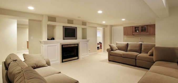Basement TV Lounge Area