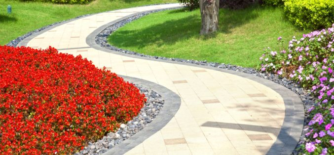 Winding Walkway Through a Garden