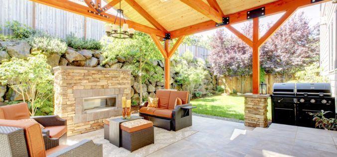 Covered Patio and Fireplace