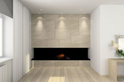 Stone Panel Fireplace with Black Hearth