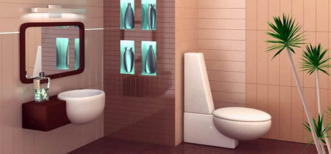 3-D Rendering of a Small Bathroom