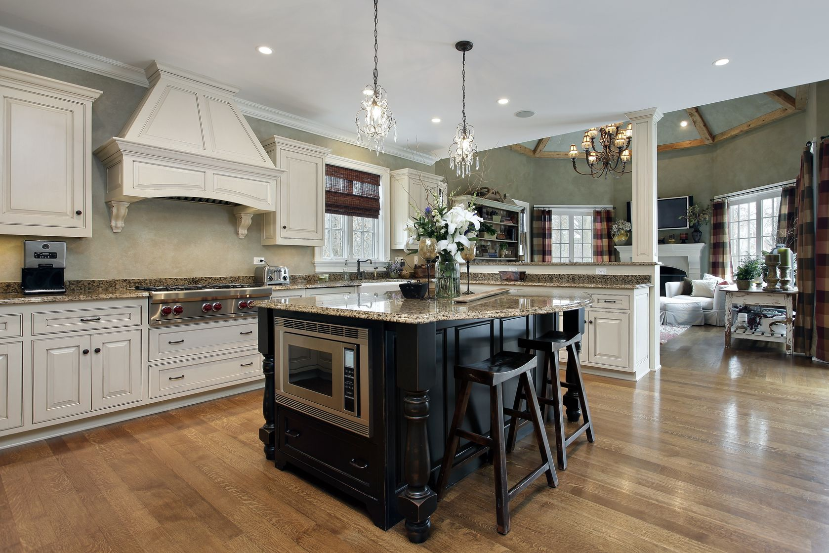 Large Kitchen with Island and White Cabinets   Photo ...