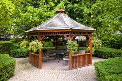 Landscaped Garden with a Gazebo Situated On an Interlocking Stone Patio