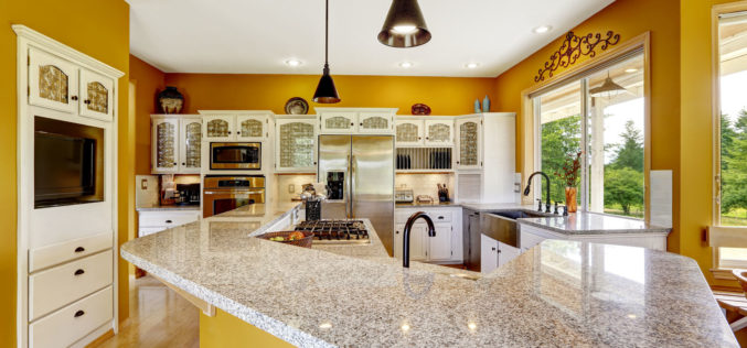 Farm House Luxury Kitchen in Bright Yellow