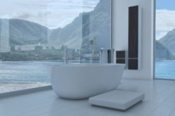 Bathroom Interior With French Windows and Scenic View