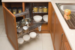 Detail of Open Organized Kitchen Cabinet