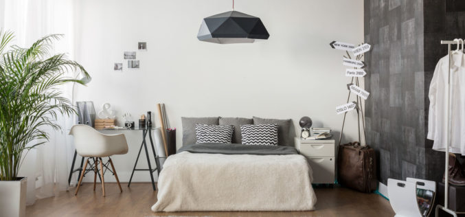 Interior of White and Gray Cozy Guest Bedroom