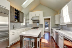Modern Style Kitchen Interior With Brown and White Cabinets