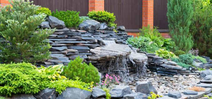 Natural Stone Landscaping with Running Water