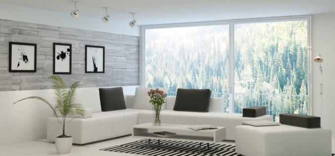 Modern Styled Living Room Adjacent to Sliding Glass Windows