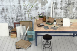 Work Studio With Wood Table Against Patterned Grey Wall