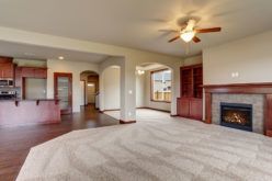 Unfurnished Living Room with Part Carpet and Wood Flooring