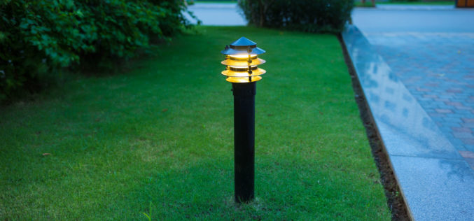 Solar Power Illuminated Outdoor Light at Twilight