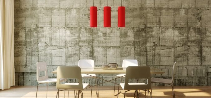 Modern Dinette With Concrete Wall Background