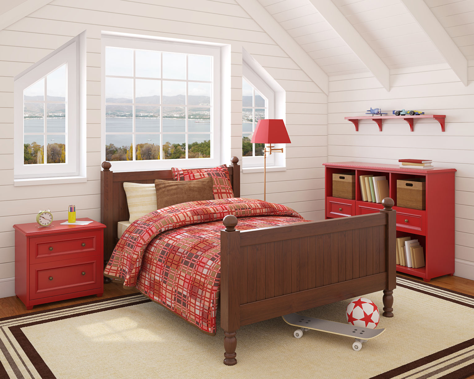 boy's attic bedroom