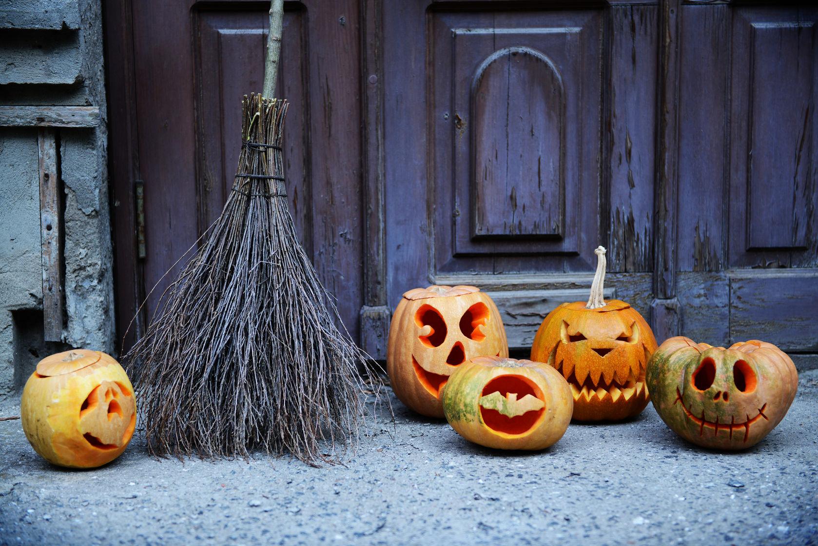 Halloween pumpkin broom