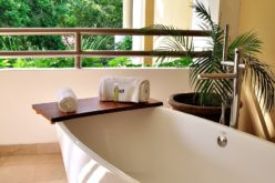 Round Jacuzzi Bathtub on Tiled Floor