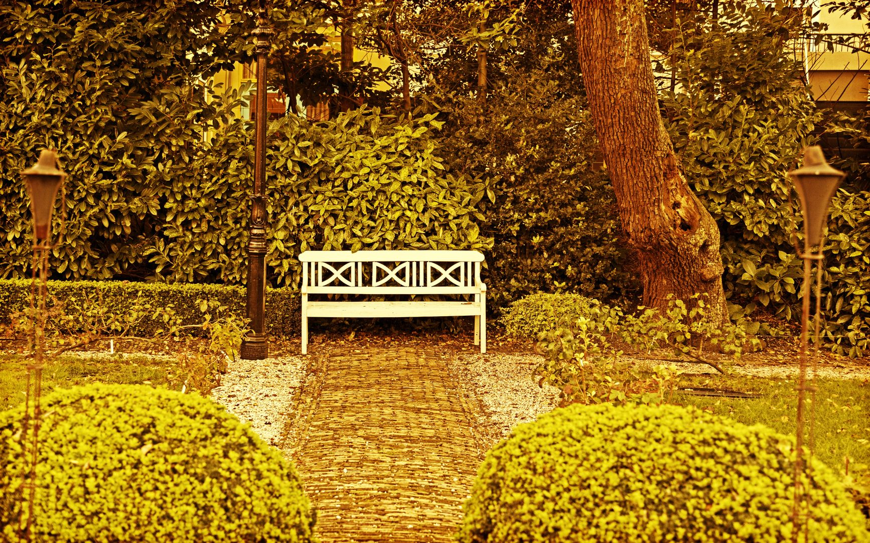 autumn time garden bench