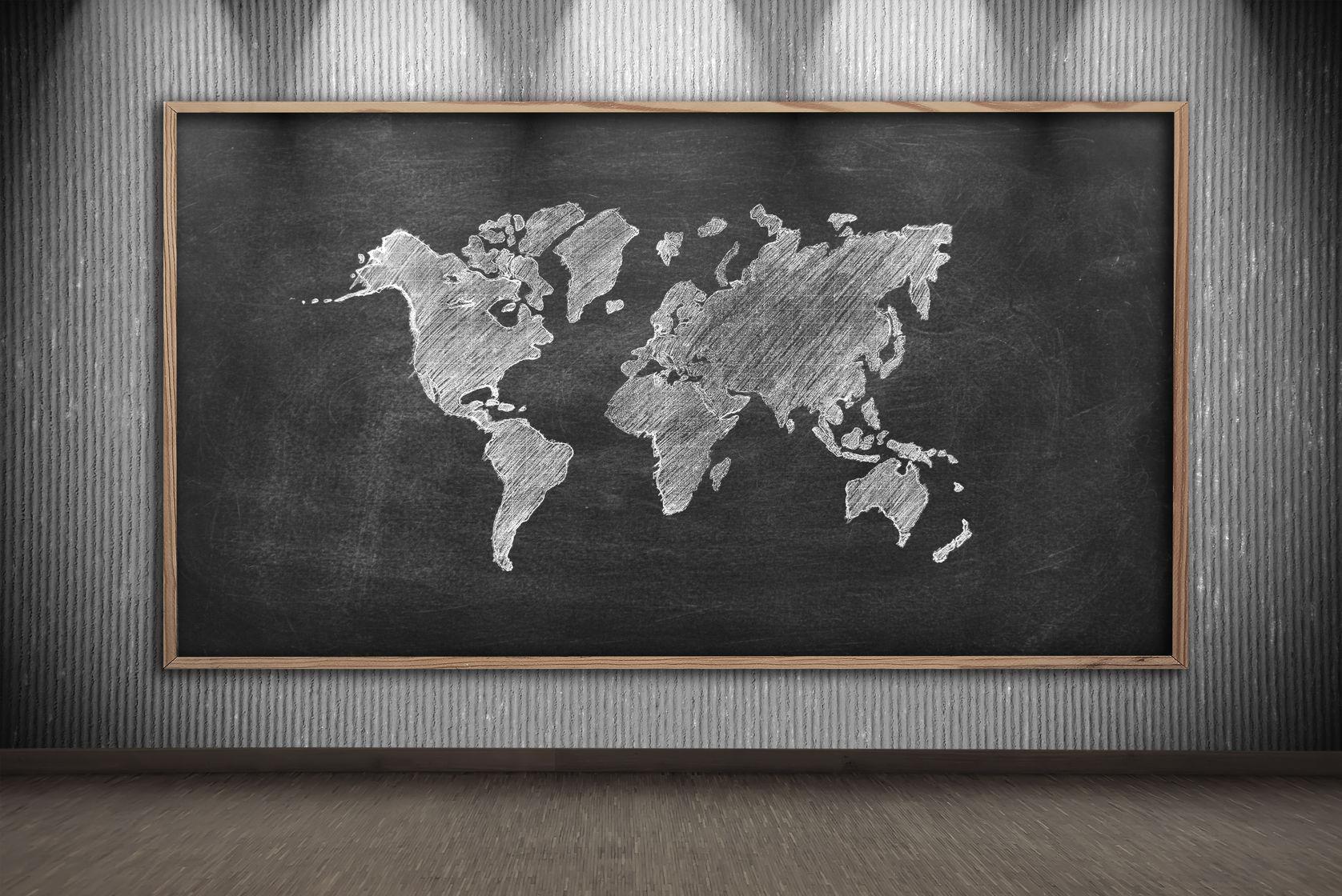 chalkboark with world map
