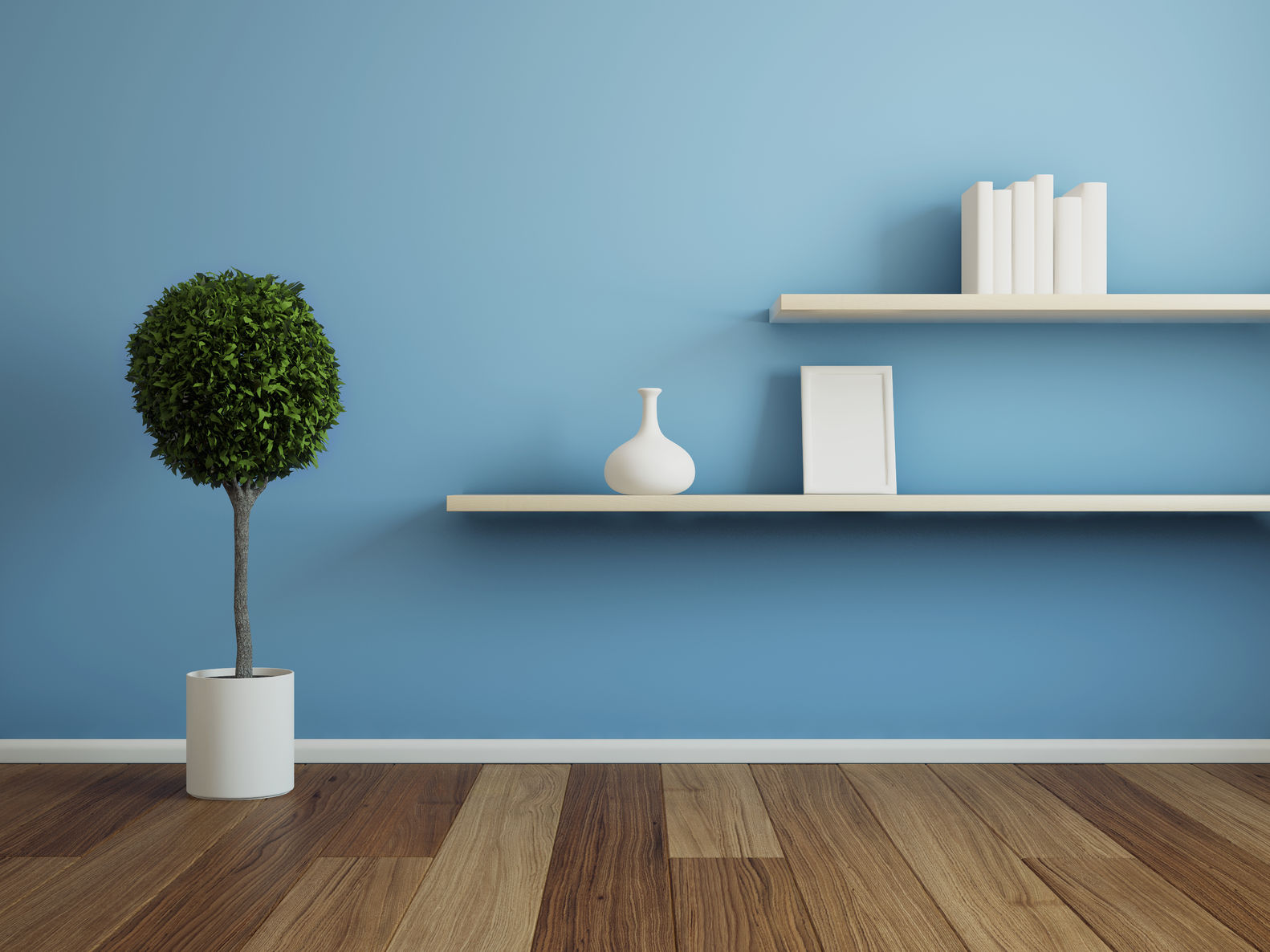 blue wall white shelving