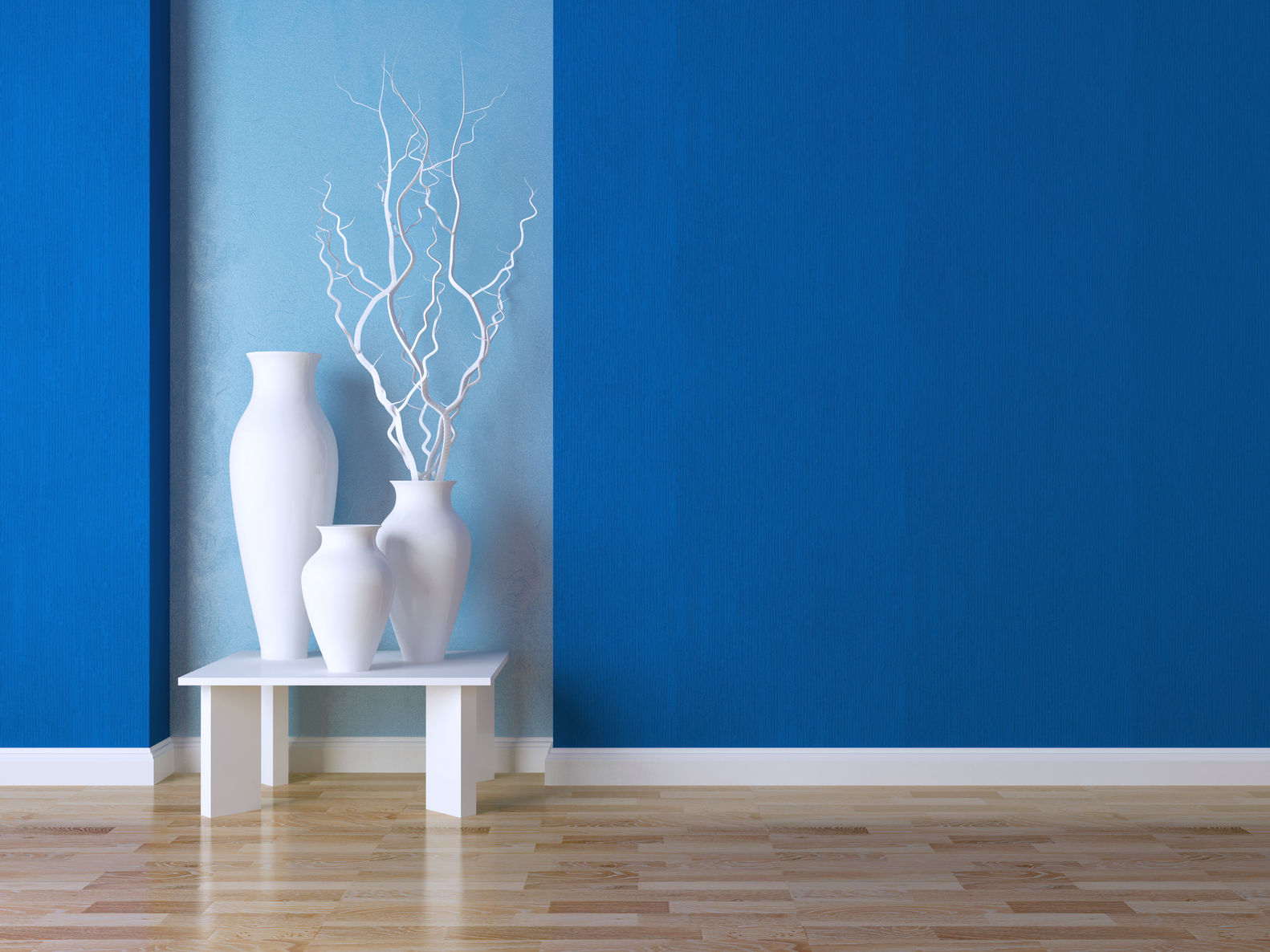 blue painted wall