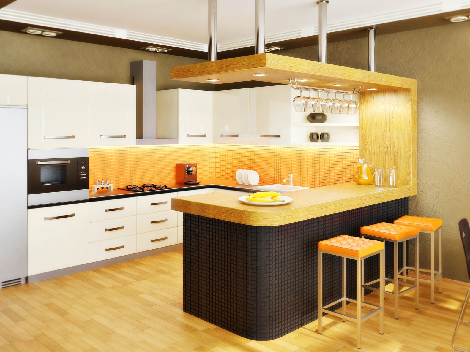 yellow modern kitchen