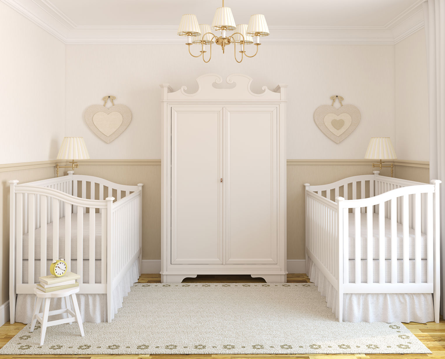cozy nursery room crib for twins