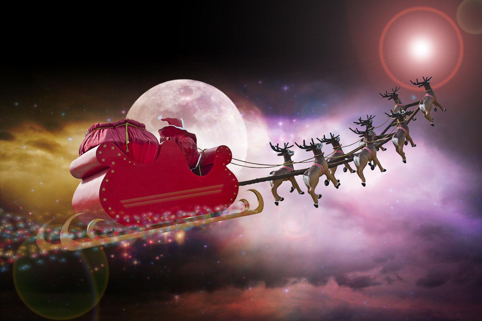santa riding a sleigh