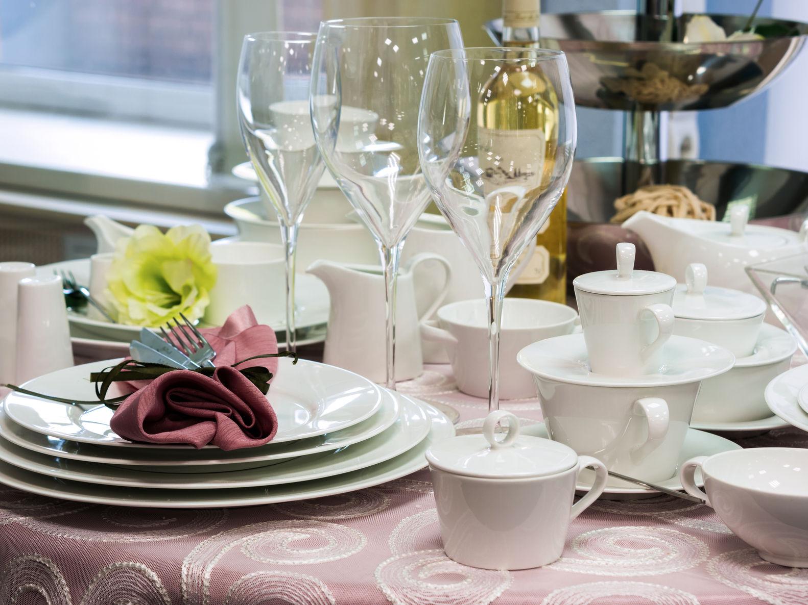 set of fine dinnerware on table