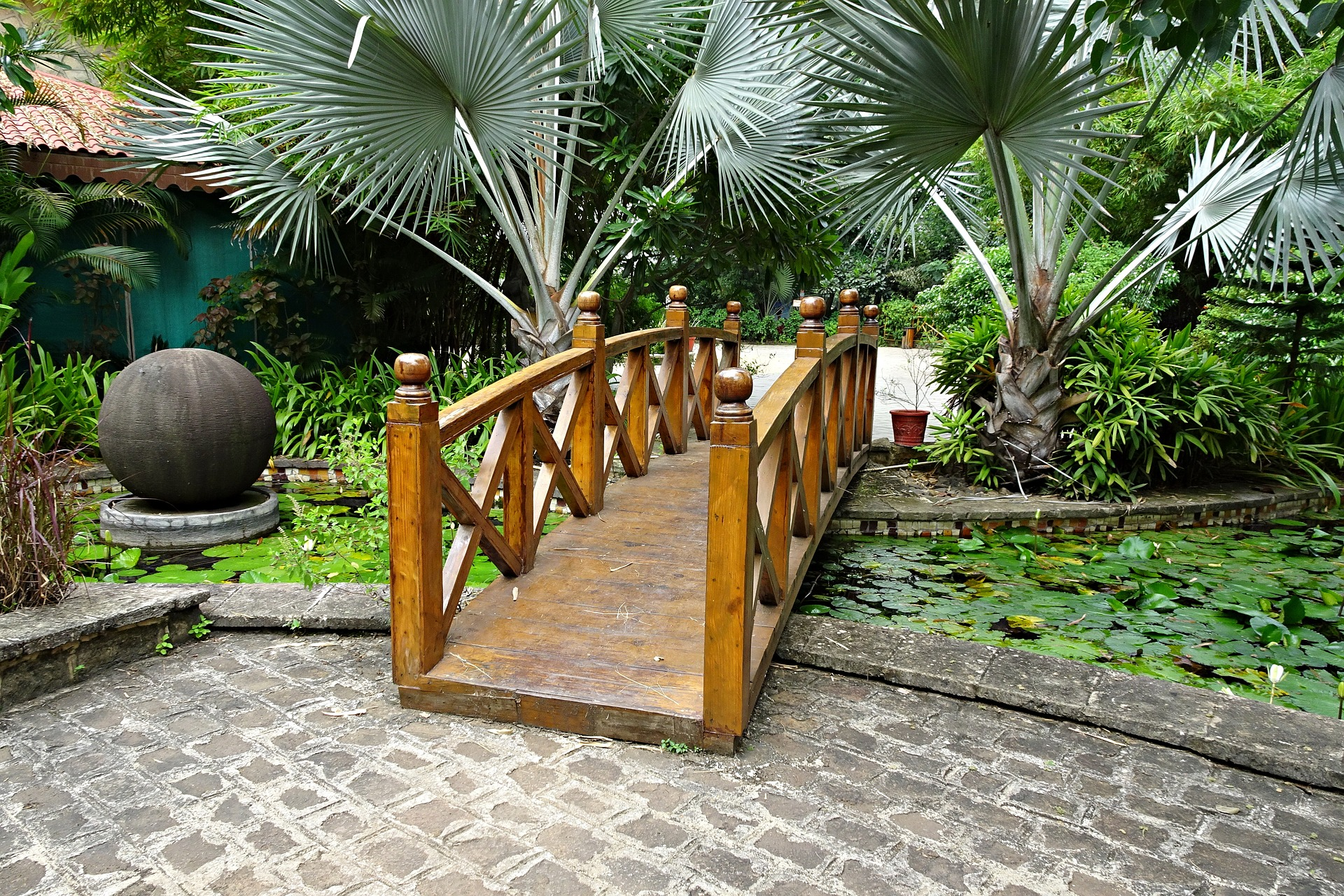 bamboo garden bridge