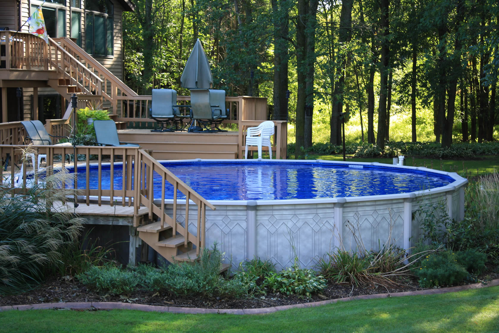 landscaped above ground pools