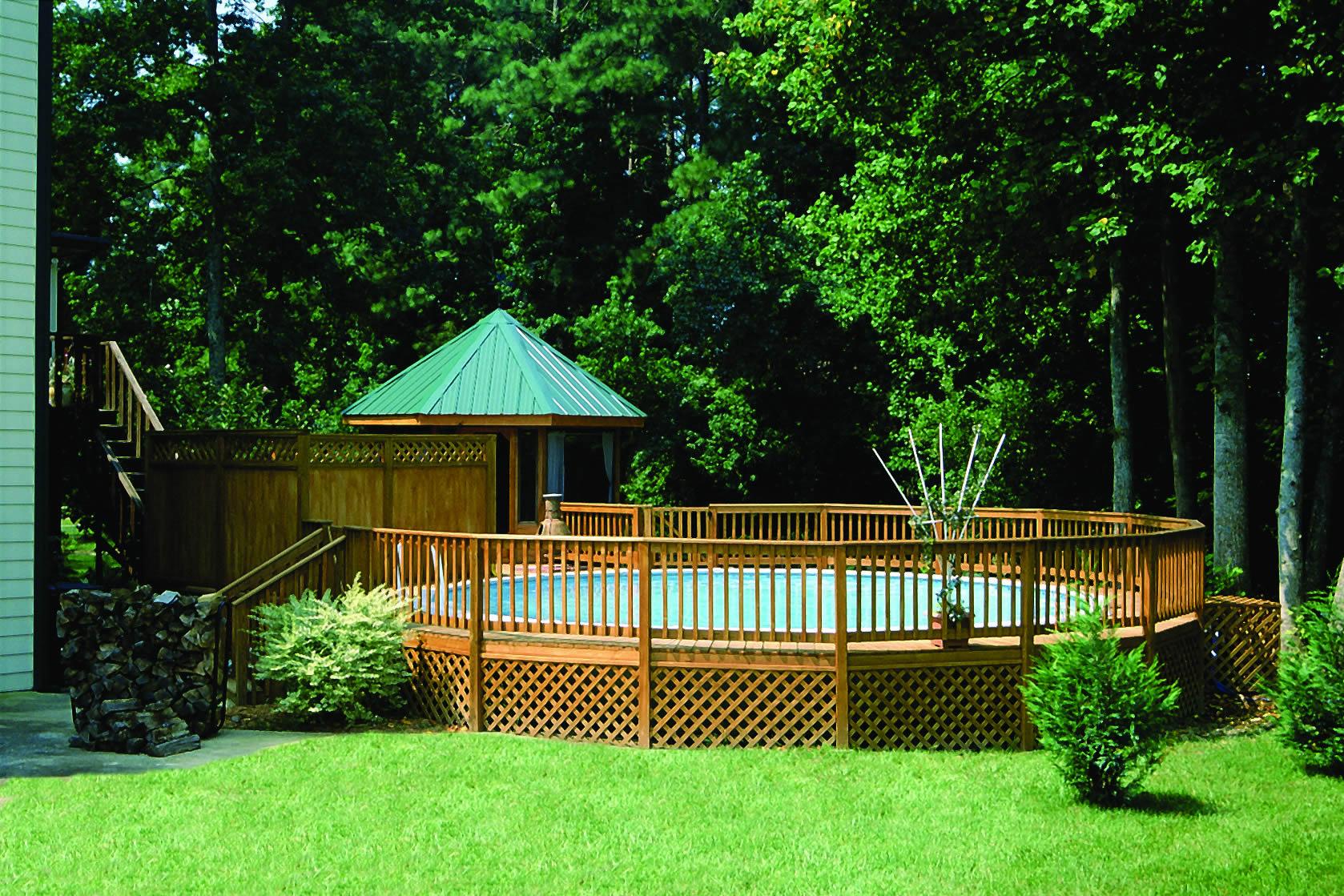 deck surround above ground pool