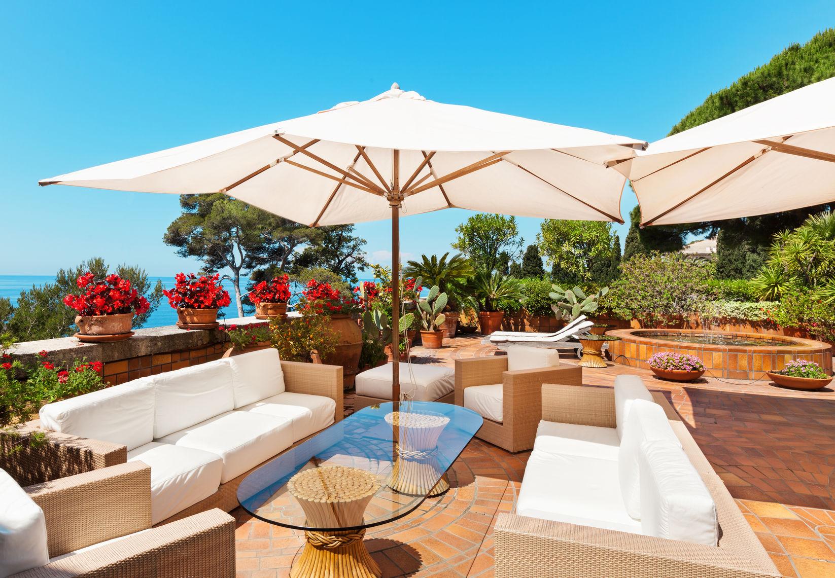 white patio umbrella
