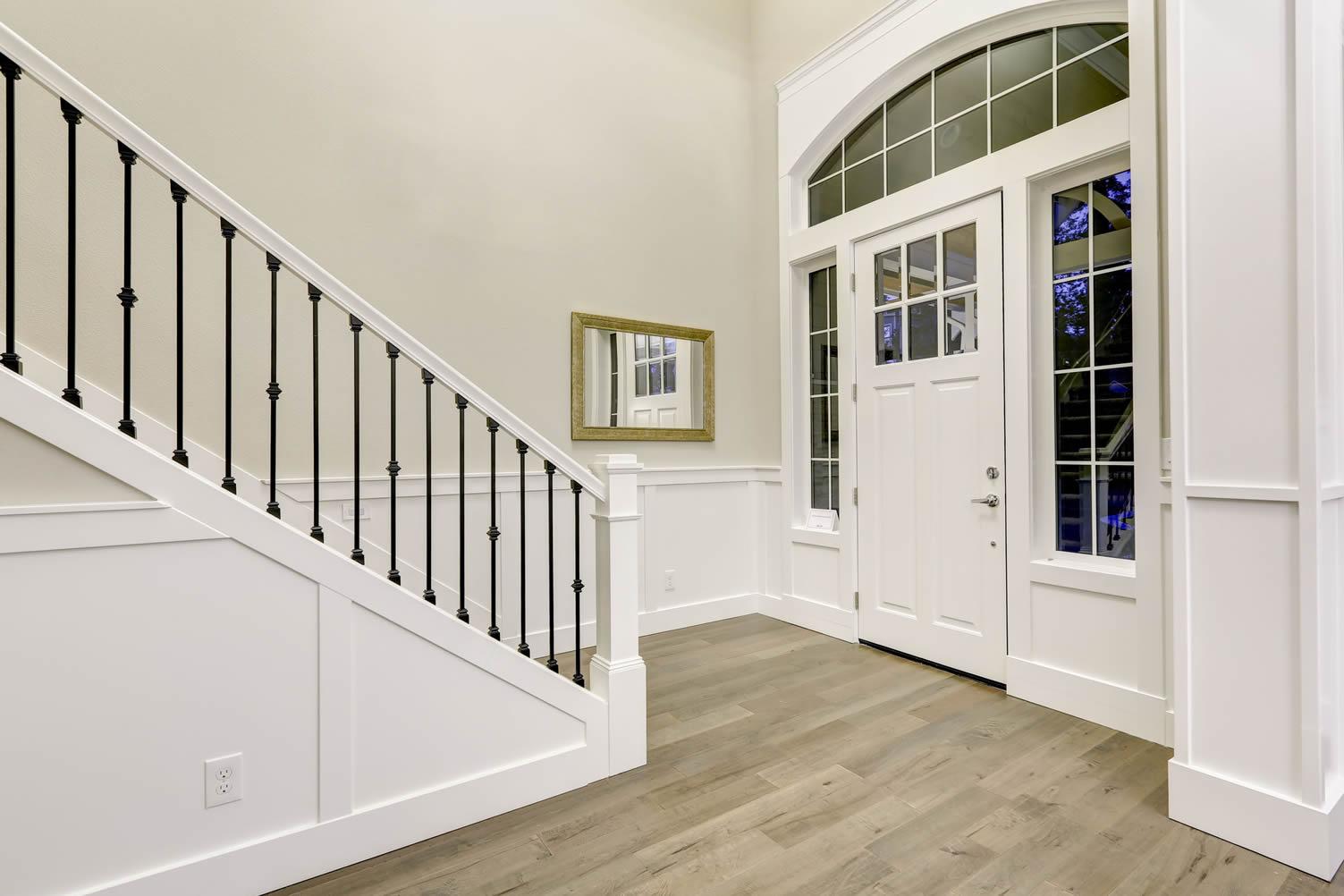 stairway paneled walls