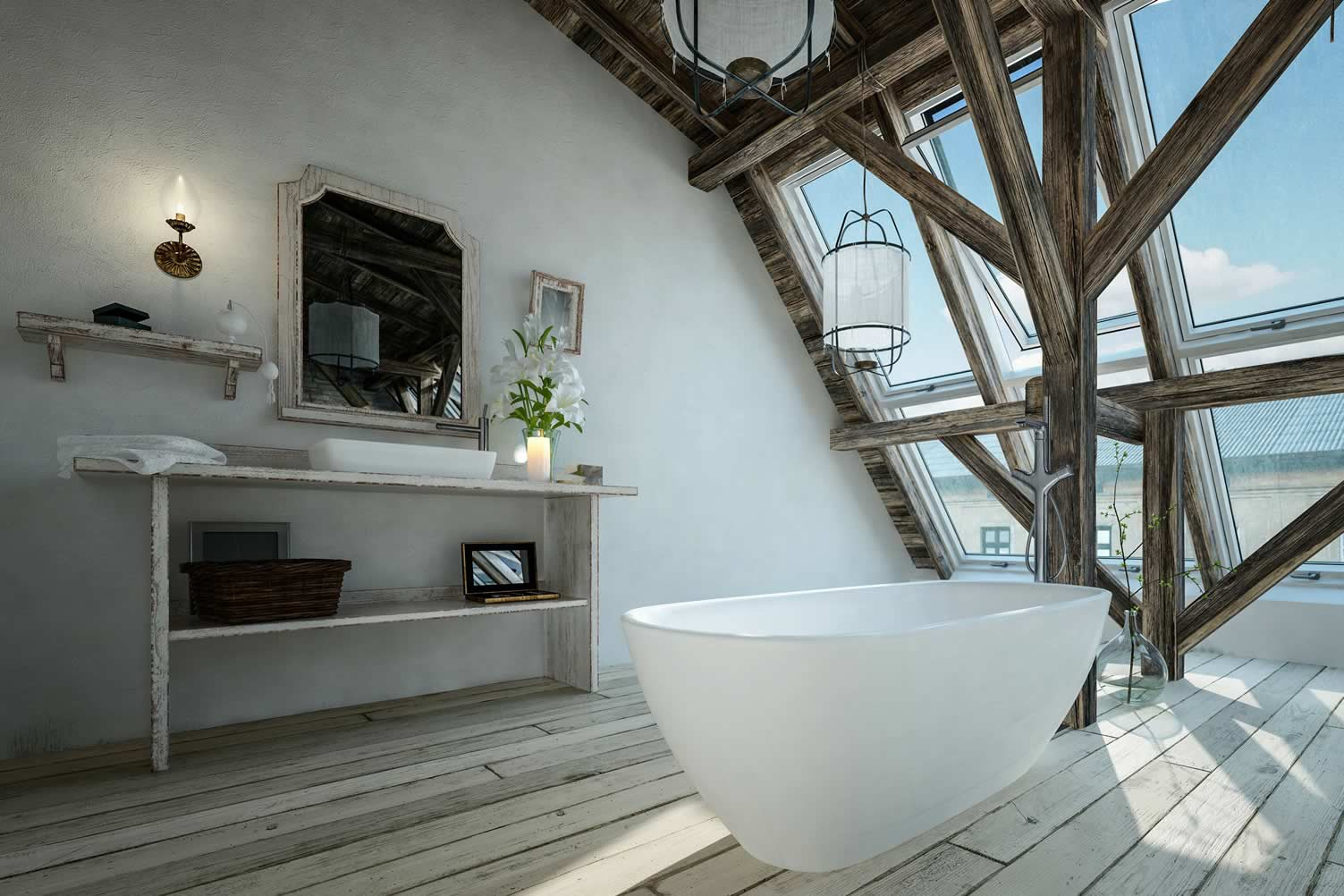 secluded attic bathroom