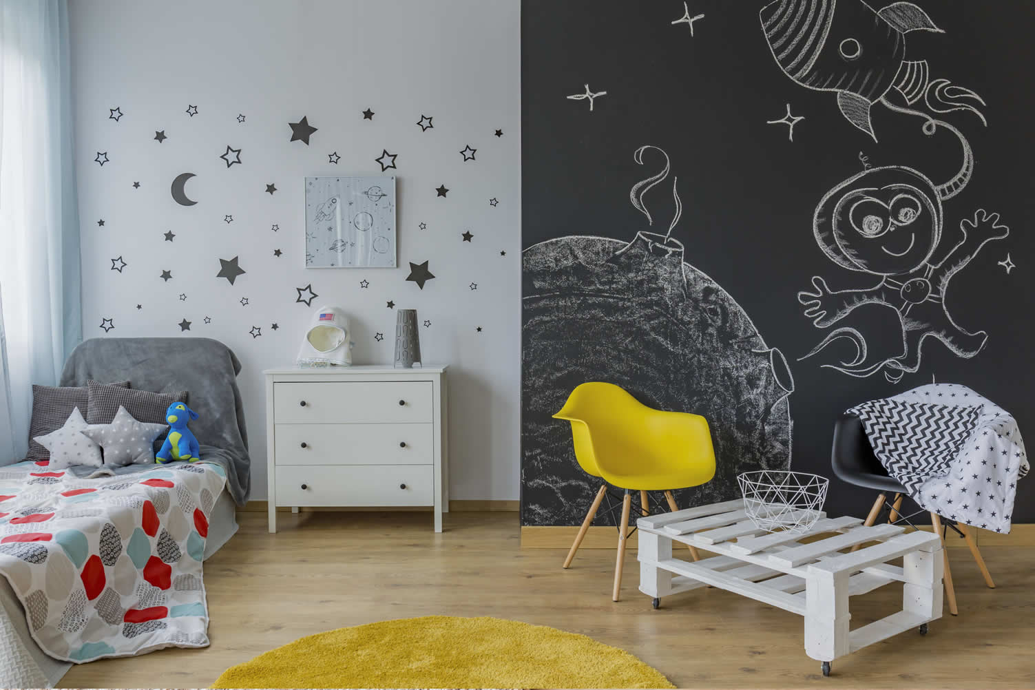 teen blackboard bedroom
