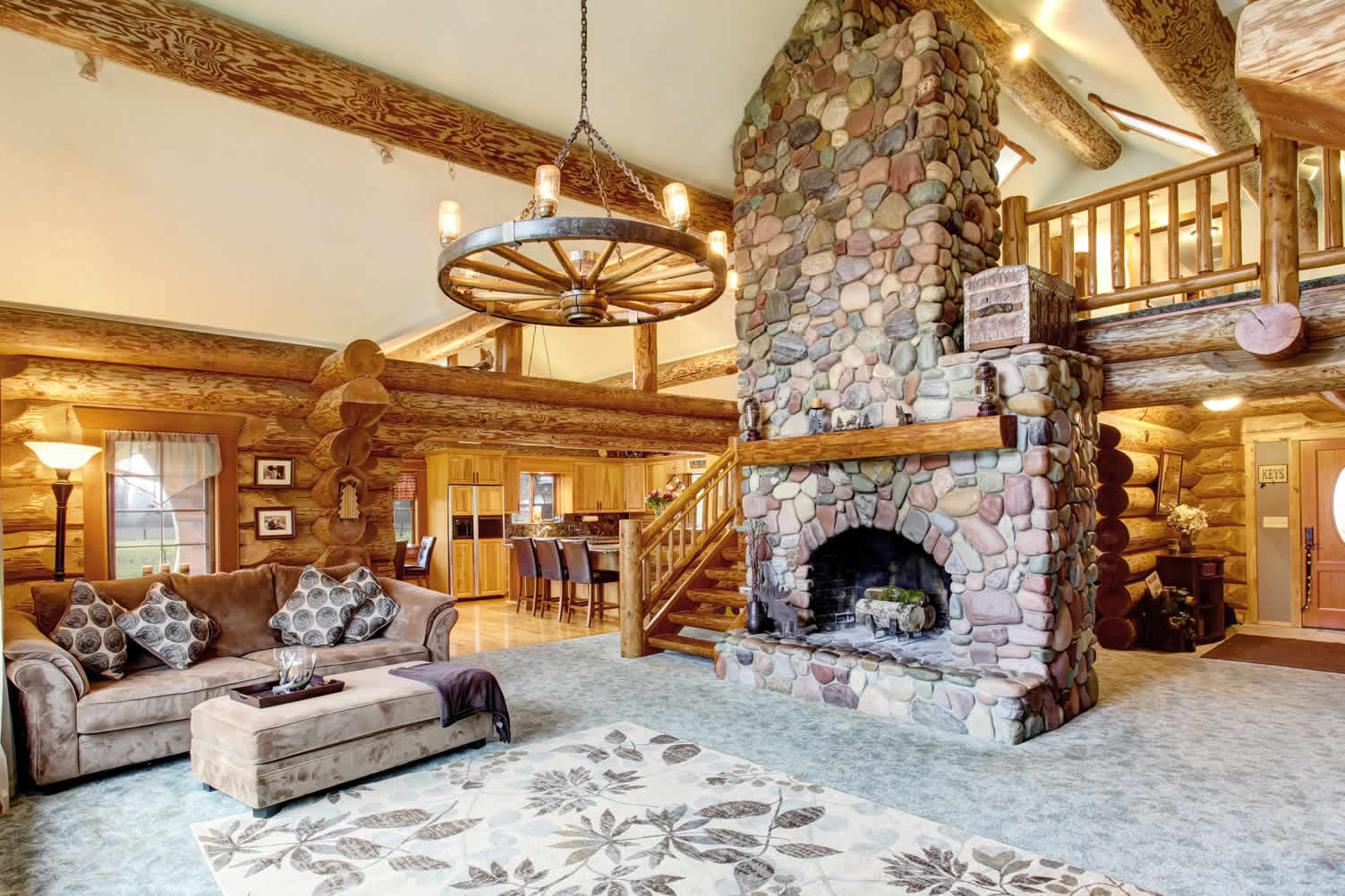 For That Rustic Look – A Log Cabin Living Room | Photo ...