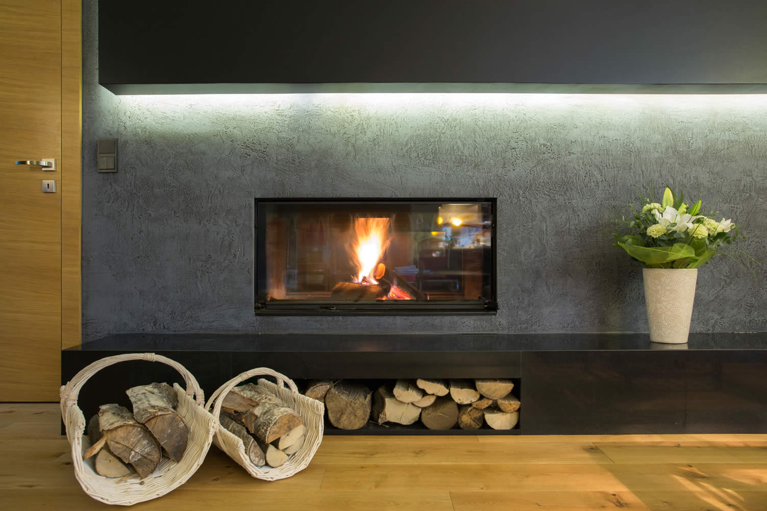 inserted wall fireplace